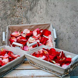 Caja de pétalos de rosa