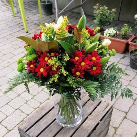 Ramo de flores Amore Margarita, Solidago, Lisianthus, Lilium